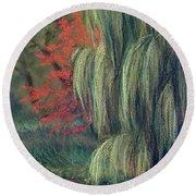 Round Beach Towel featuring the drawing Willow Tree - Hidden Lake Gardens -tipton Michigan by Yoshiko Mishina