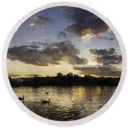 Round Beach Towel featuring the digital art Wimbledon Sunset by Matt Malloy