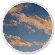 Wind Driven Clouds Round Beach Towel by Mick Anderson