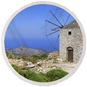 wind mill Naxos Round Beach Towel