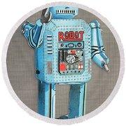 Wind-up Robot 2 Round Beach Towel