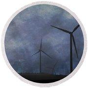 Windmills. Round Beach Towel