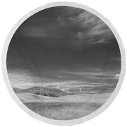 Round Beach Towel featuring the photograph Windmills In The Distant Hills by Kathleen Grace