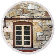 Window Into The Past Round Beach Towel