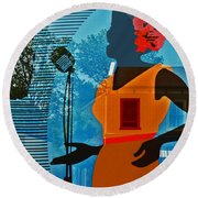 Round Beach Towel featuring the photograph Window To My Soul by Barbara McMahon