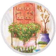 Window With A Heart Of Flowers Round Beach Towel