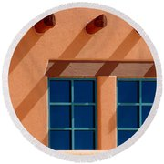 Windows Blue Round Beach Towel by Vicki Pelham