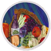 Wine Cornucopia Round Beach Towel