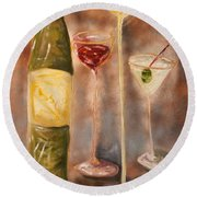 Wine Or Martini? Round Beach Towel