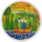 Round Beach Towel featuring the painting Wink Blink And Nod by Donna Howard