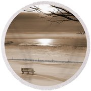 Winter Beach Morning Sepia Round Beach Towel