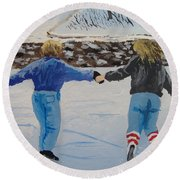 Round Beach Towel featuring the painting Winter Fun by Norm Starks