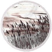 Winter Grasses Round Beach Towel