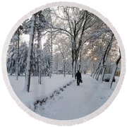 Round Beach Towel featuring the photograph Winter In Mako by Anna Ruzsan