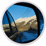 Winter Landscape Seen Through A Car Mirror Round Beach Towel