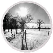 Winter Shadows Round Beach Towel by Leanna Lomanski