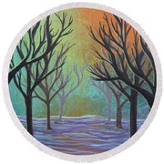 Winter Solitude 11 Round Beach Towel