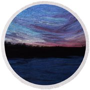 Round Beach Towel featuring the digital art Winter Sunset by Lauren Radke