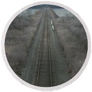Round Beach Towel featuring the photograph Winter Tracks  by Neal Eslinger