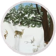 Wintering Whitetails Round Beach Towel