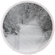 Round Beach Towel featuring the photograph Winter's Trail by Elizabeth Winter