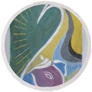 Round Beach Towel featuring the painting Wisdom And Peace by Sonali Gangane