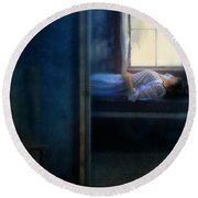 Woman In Nightgown In Bed By Window Round Beach Towel