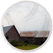 Round Beach Towel featuring the photograph Wood And Log Sheds by Barbara McMahon