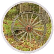 Round Beach Towel featuring the photograph Wood Spoked Wheel by Sherman Perry