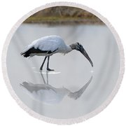 Round Beach Towel featuring the photograph Wood Stork Eating by Dan Friend