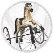 Wooden Horse Trike Round Beach Towel