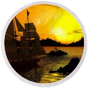 Wooden Ships Round Beach Towel
