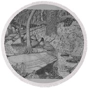 Woodland Stream Round Beach Towel by Daniel Reed