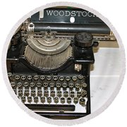 Woodstock Typewriter Round Beach Towel