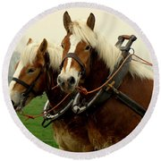 Round Beach Towel featuring the photograph Work Horses by Lainie Wrightson