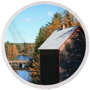 Round Beach Towel featuring the photograph Working Gristmill by Barbara McMahon
