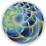 Woven Blue Ribbons Round Beach Towel