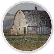 Wrapped Barn Round Beach Towel by Mick Anderson