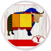 Y Is For Yak Round Beach Towel