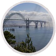 Round Beach Towel featuring the photograph Yaquina Bay Bridge by Mick Anderson