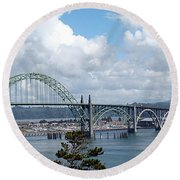 Yaquina Bay Bridge Round Beach Towel