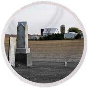 Ye Olde Farmstead Round Beach Towel by Sue Stefanowicz