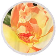 Yellow And Peach Rose Round Beach Towel