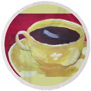 Yellow Cup On Red Round Beach Towel