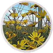 Round Beach Towel featuring the photograph Yellow Flowers By The Roadside by Alice Gipson