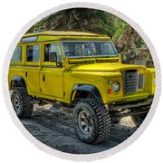 Yellow Jeep Round Beach Towel