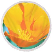 Yellow Orange Poppy Round Beach Towel