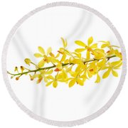 Yellow Orchid Bunch Round Beach Towel by Atiketta Sangasaeng