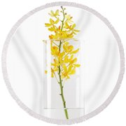 Yellow Orchid In Vase Round Beach Towel by Atiketta Sangasaeng