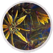 Yellow Passion Round Beach Towel